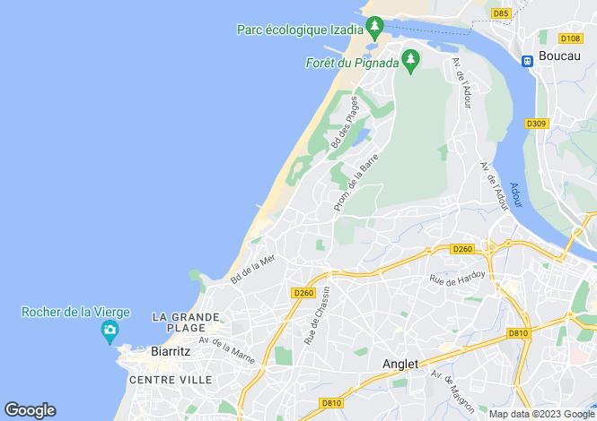 Map for Aquitaine, Pyrénées-Atlantiques, Anglet