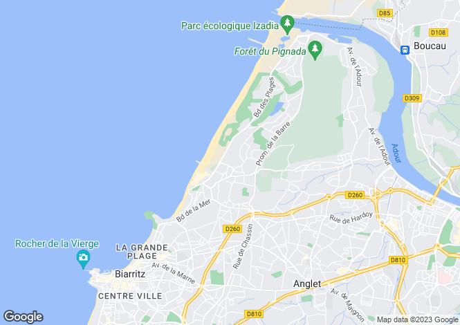 Map for Biarritz, Pyrénées-Atlantiques, Aquitaine