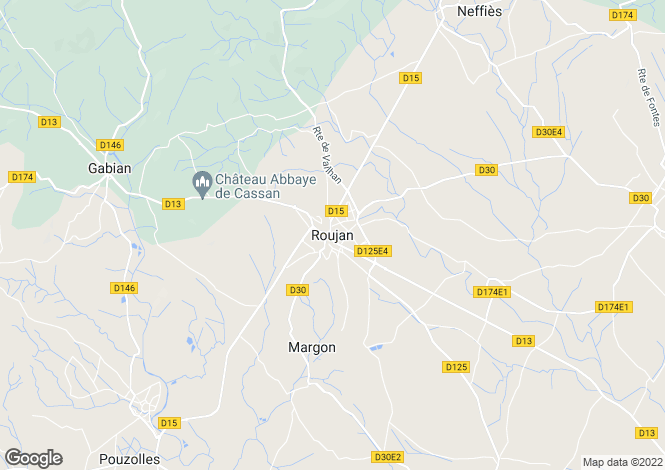 Map for Roujan, Languedoc-Roussillon, 34320, France