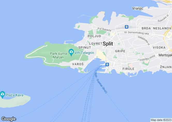 Map for Split, Split-Dalmatia