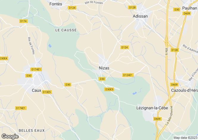 Map for Nizas, Hérault, Languedoc-Roussillon