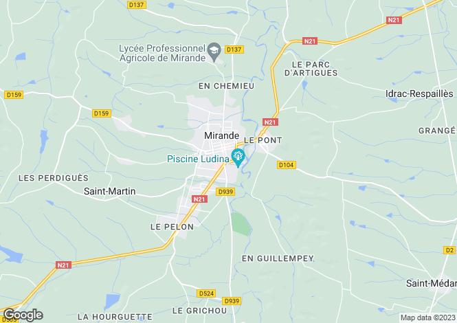 Map for Mirande, Gers, Midi-Pyrénées