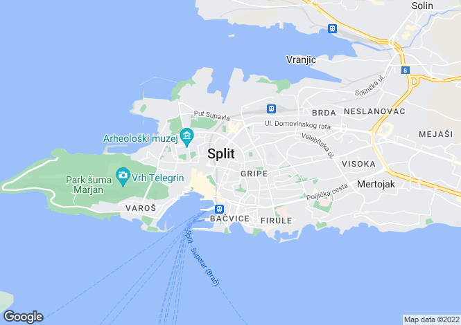 Map for Split, Split-Dalmatia