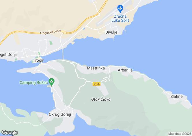 Map for Split-Dalmacija, Ciovo Island, Croatia