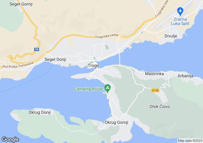 Map for Trogir, Ciovo Island, Croatia