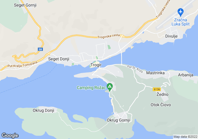 Map for Luxury Villa, Ciovo, Trogir, Split-Dalmatia