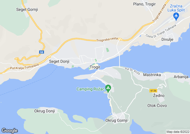 Map for Waterfront Villa, Trogir, Split-Dalmatia