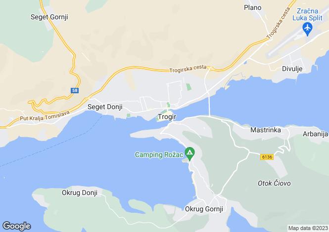 Map for Trogir, Ciovo, Split-Dalmatia, Croatia