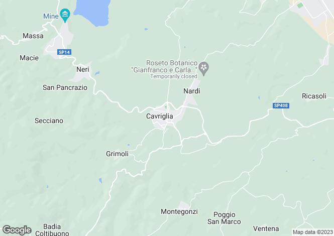 Map for Cavriglia, Arezzo, Italy