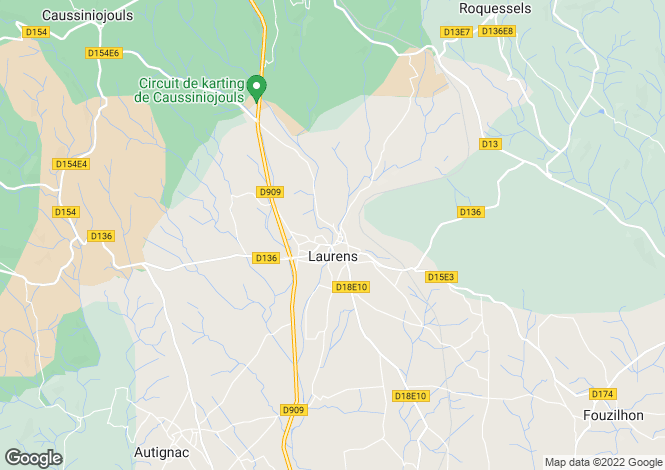 Map for Languedoc-Roussillon, Hérault, Laurens