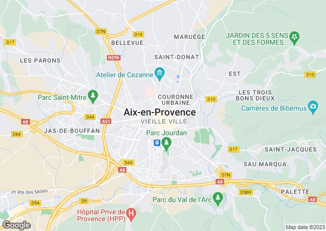 Map for Provence-Alps-Cote d`Azur, Bouches-du-Rhône, Aix-en-Provence