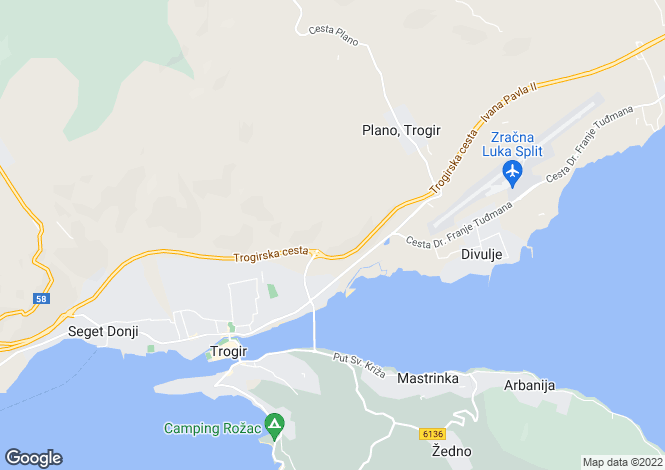 Map for Trogir, Split-Dalmatia