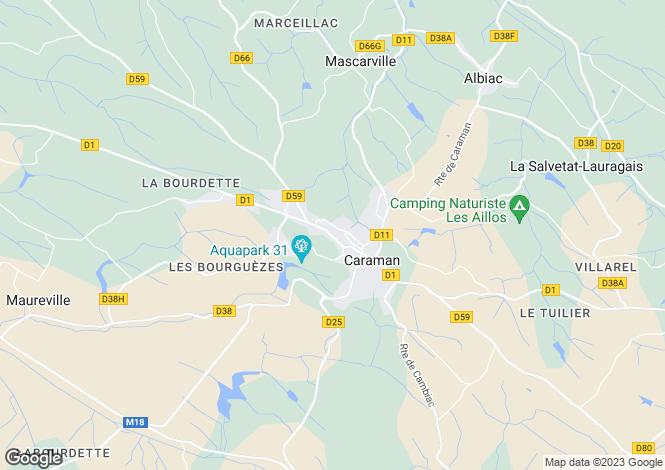 Map for Midi-Pyrénées, Haute-Garonne, Caraman