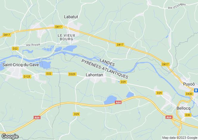 Map for Lahontan, Pyrénées-Atlantiques, Aquitaine