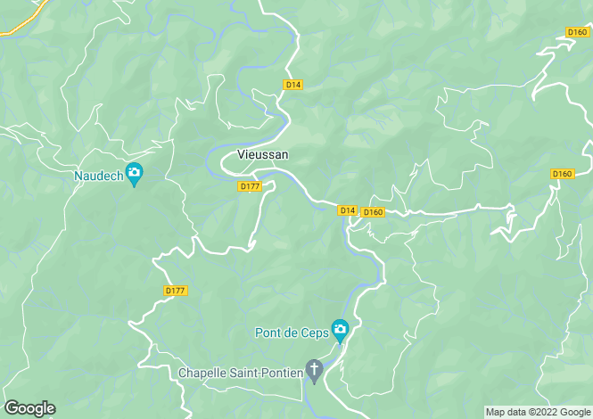 Map for vieussan-, Hérault, France