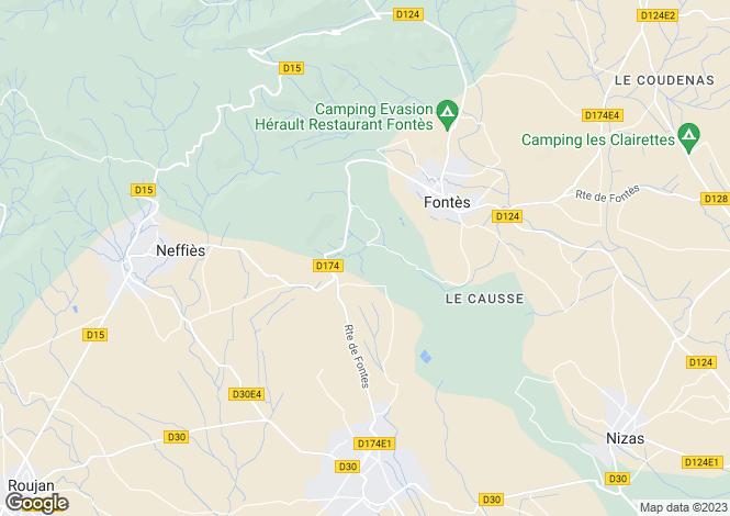 Map for Fontès, Hérault, Languedoc-Roussillon
