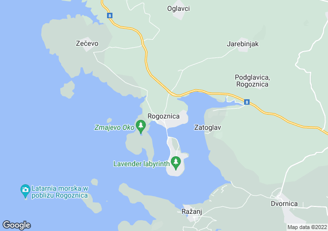 Map for Waterfront House, Rogoznica, Dalmatian Coast