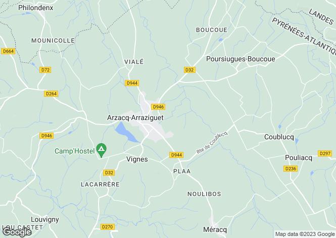 Map for Arzacq-Arraziguet, Pyrénées-Atlantiques, Aquitaine