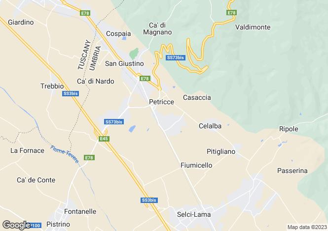 Map for San Giustino, Umbria, Italy