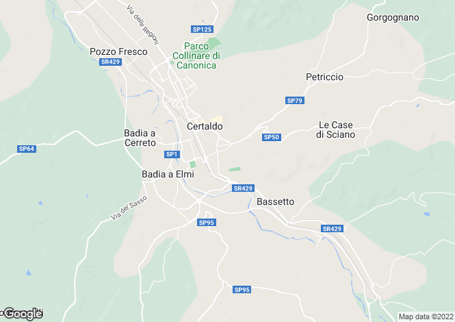 Map for Tuscany, Florence, Certaldo