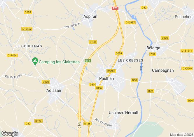 Map for paulhan, Hérault, France