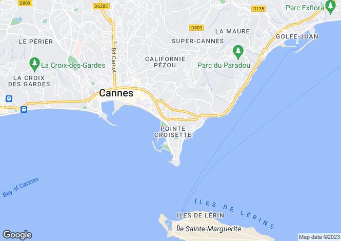 Map for La Croisette, Cannes, French Riviera