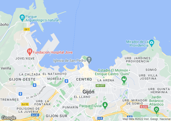 Map for Gijón-Xixón, Oviedo, Asturias