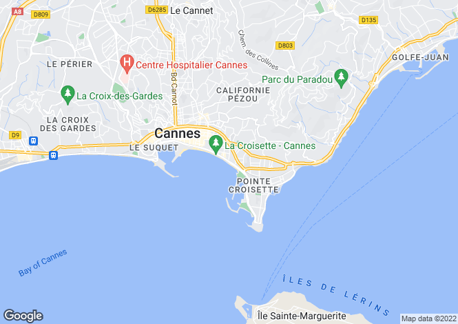 Map for La Croisette, Cannes, French Riviera