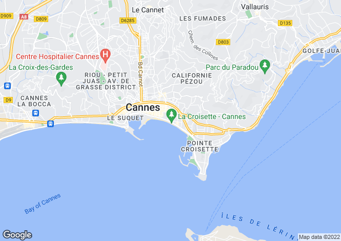 Map for Cannes Croisette, France