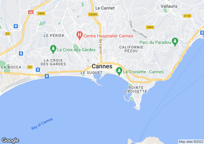 Map for Cannes, French Riviera