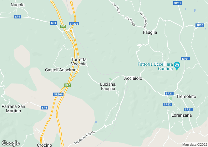 Map for Tuscany, Pisa, Fauglia