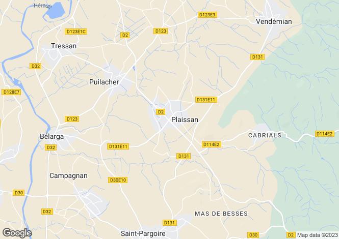 Map for Plaissan, Languedoc-Roussillon, France