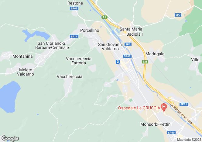 Map for San Giovanni Valdarno, Arezzo, Tuscany