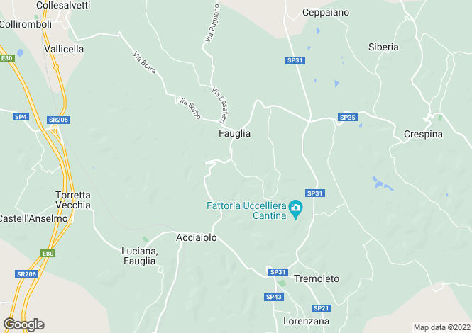 Map for Fauglia, Pisa, Tuscany