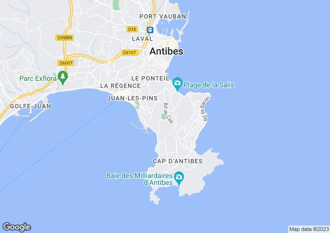 Map for Provence-Alps-Cote d`Azur, Alpes-Maritimes, Cap D'antibes
