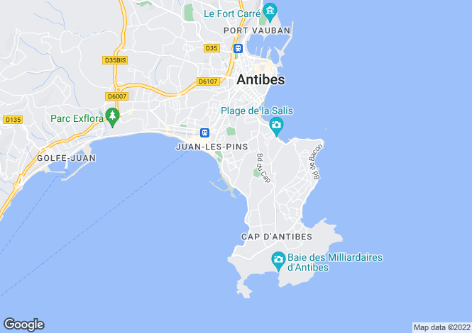Map for Cap D'antibes, French Riviera, France
