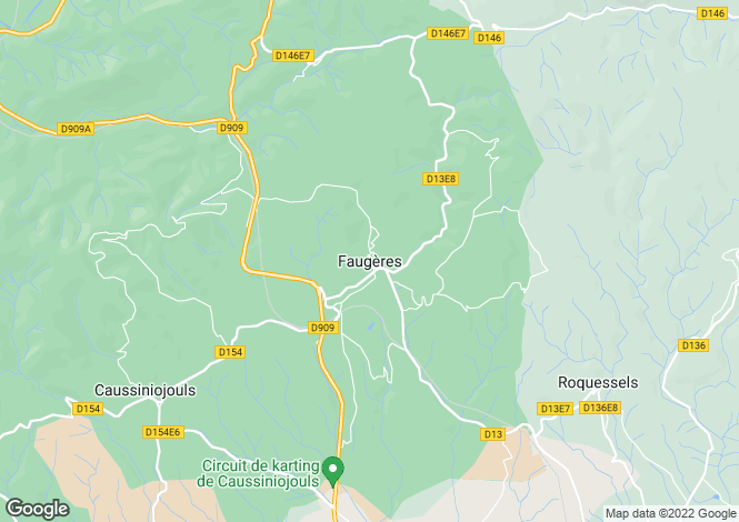 Map for Faugeres, Languedoc-Roussillon, 34600, France