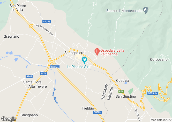 Map for Sansepolcro, Arezzo, Tuscany