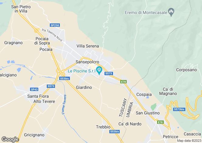 Map for Sansepolcro, Arezzo, Tuscany