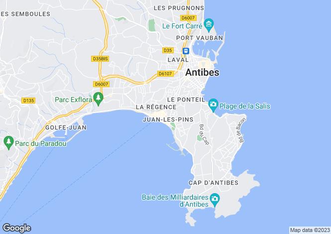 Map for Beautiful Apartment, Juan Les Pins, Alpes Maritimes