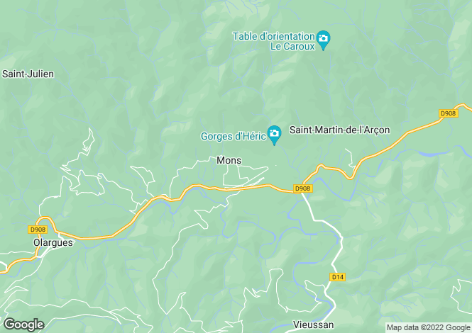 Map for Languedoc-Roussillon, Hérault, Mons