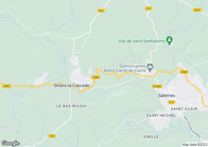 Map for Provence-Alps-Cote d`Azur, Var, Sillans-la-Cascade