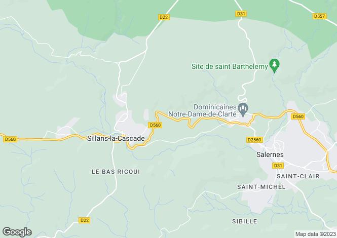 Map for sillans-la-cascade, Var, France