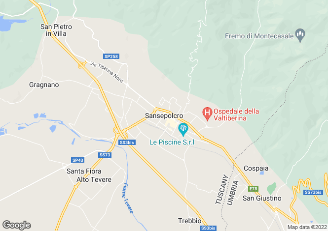 Map for Sansepolcro, Tuscany, Italy