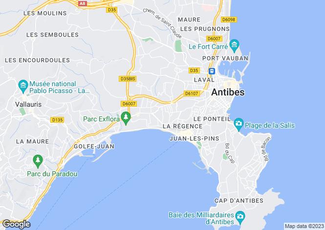 Map for Juan-les-Pins, Alpes-Maritimes, France