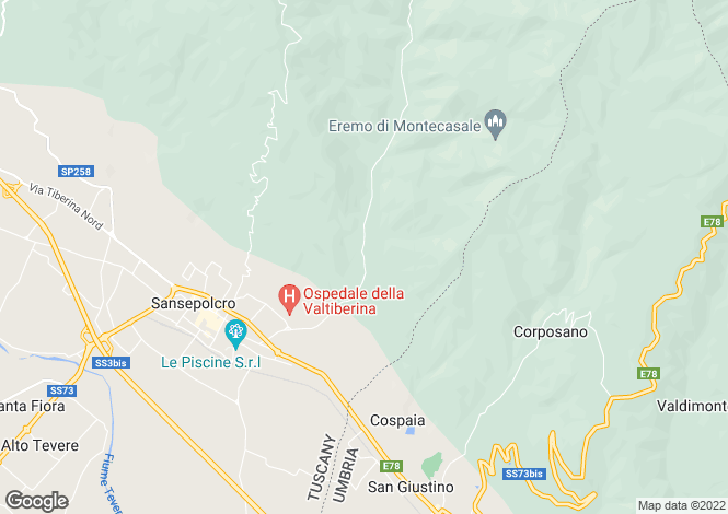 Map for Tuscany, Arezzo, Sansepolcro