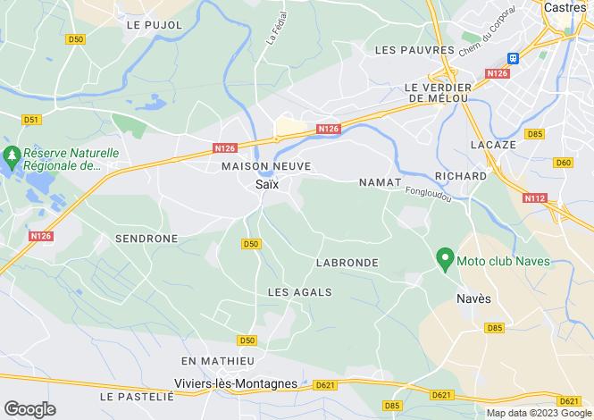 Map for saix, Tarn, France