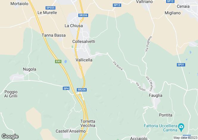 Map for Tuscany, Livorno, Collesalvetti