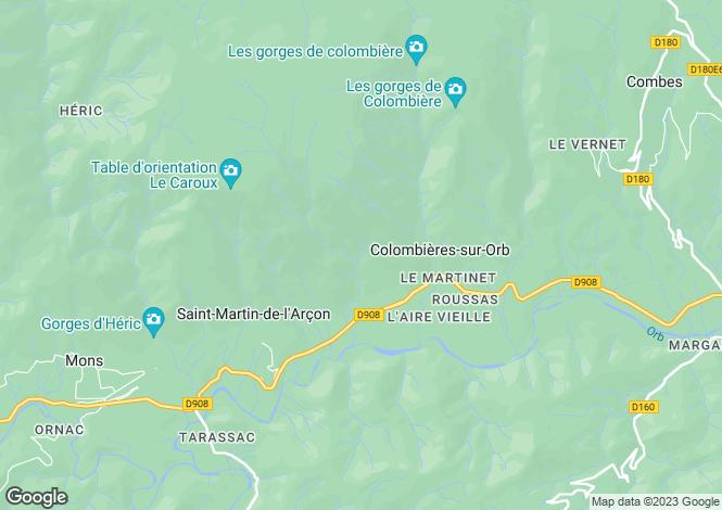 Map for Languedoc-Roussillon, Hérault, Colombières-sur-Orb