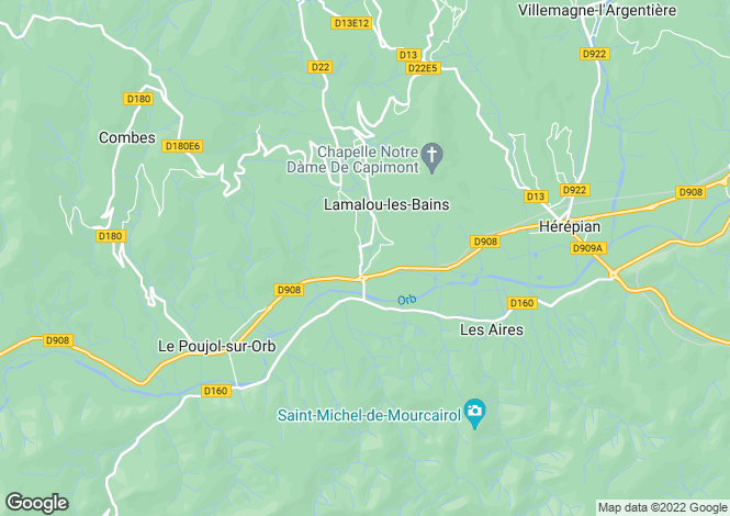 Map for lamalou-les-bains, Hérault, France